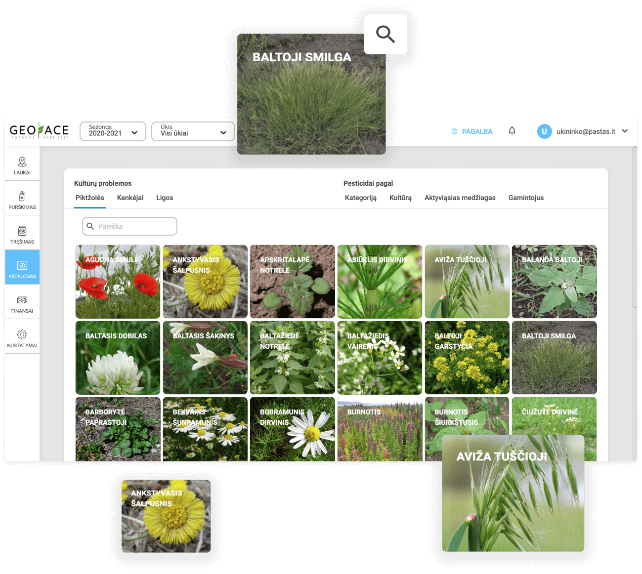 you don't recognize a pest, disease, or weed in the field? No problem, our catalog of pests, diseases and weeds will help you do that.