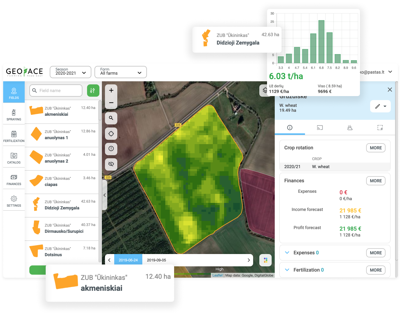 Is it difficult to monitor the growth of all crops? You don't have to go to the field. With the Geface system you can monitor the growth of all your fields at once and detect problematic outdoor areas.