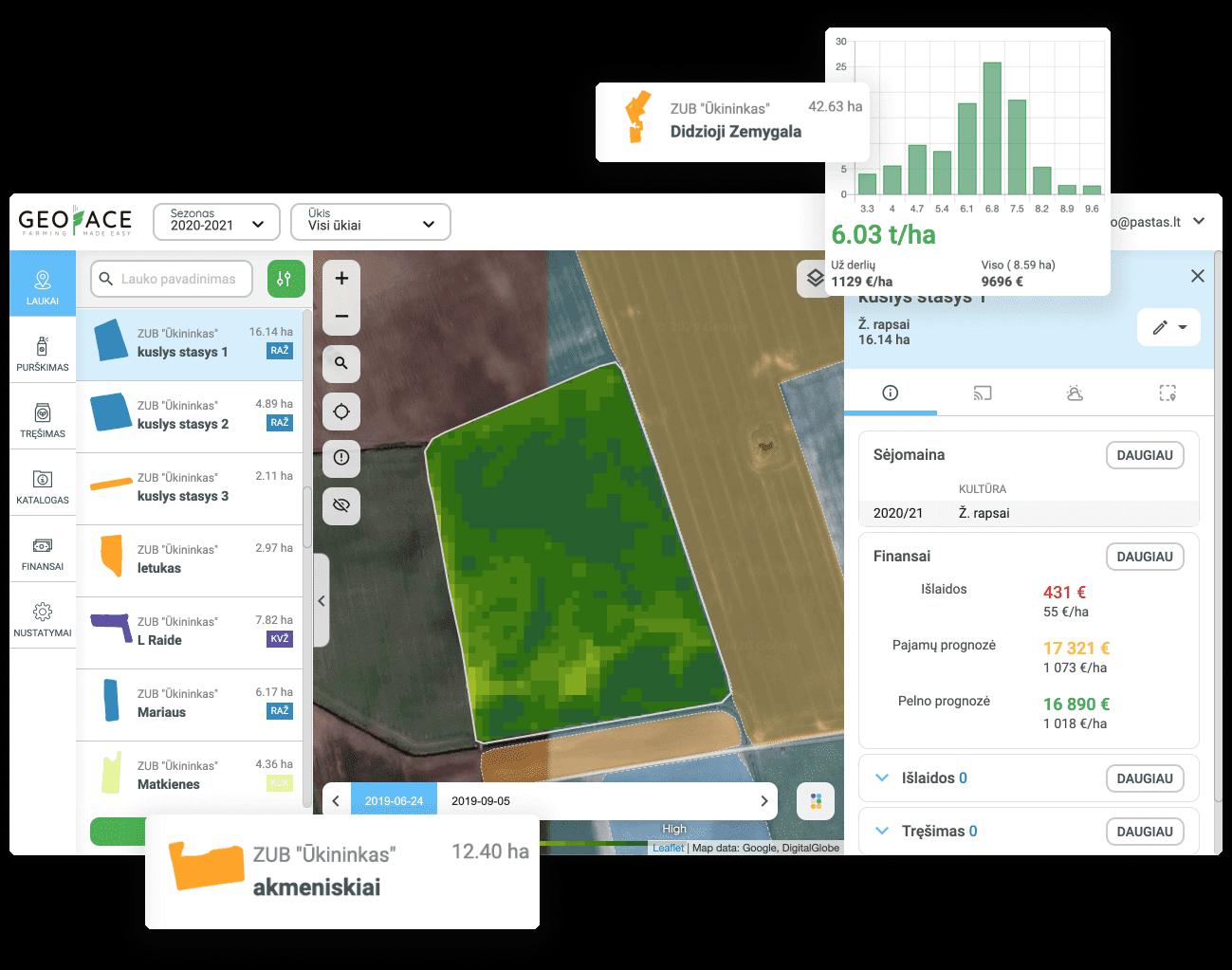 sunku prižiūrėti visų pasėlių augimą? Jums nereikia važiuoti į lauką - su Geface sistema galite vienu metu stebėti visų savo laukų augimą vienu metu bei aptikti problemines lauko vietas.